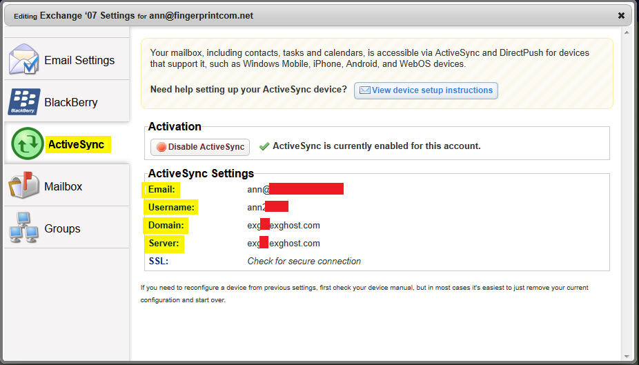 AppRiver Exchange 2007 ActiveSync Settings