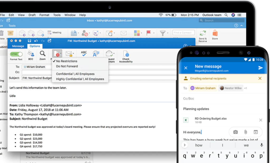 microsoft outlook on a laptop and smartphone