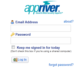 AppRiver Control Panel Login Page